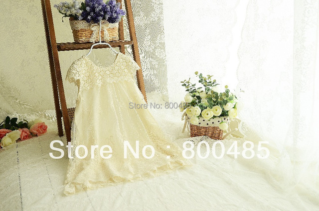 5pcs/lot Summer new arrival girls lace fly short-sleeve   tulle princess dress hot sell  beige
