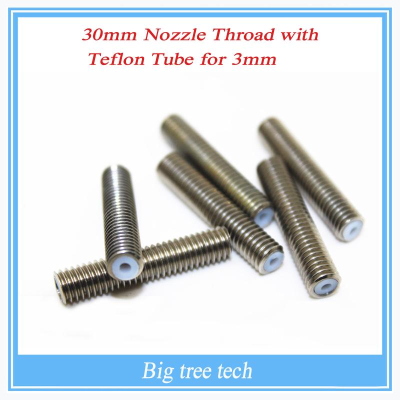 RepRap 3D Printer M6*30mm barrels printer nozzle throat with Teflon tube 1.75mm<br><br>Aliexpress