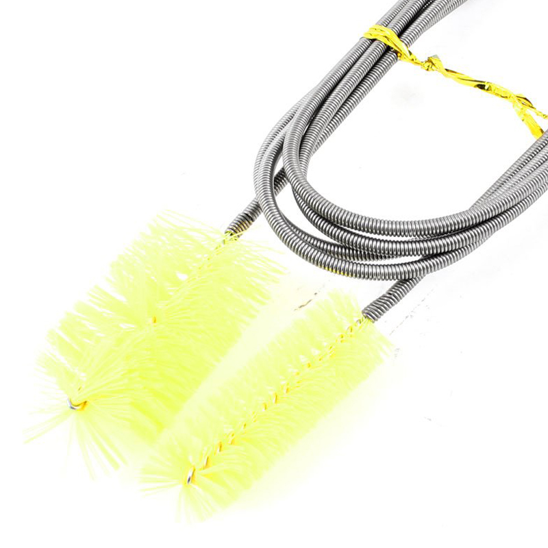 Metallic Cable Aquarium Double Brush Tube Bottle Cleaner,155cm,Yellow(China (Mainland))