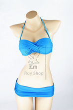 New 2014 Sexy Bikinis Triangle Bikini Swimwear Women Biquini Bathing Suit Push Up Bikini Retro bikinis Set 8Colors Swimsuits(China (Mainland))