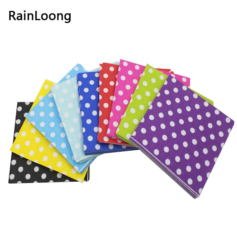 [Rainloong] полька dot бумажные салфетки декупаж печатные напитков события и партия ткани салфетки украшения салфетки(China (Mainland))