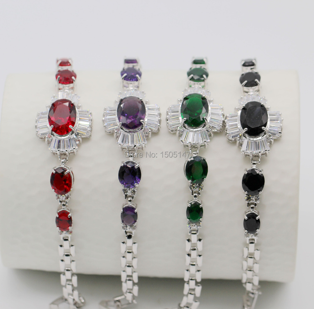 Classic Design 10kt White Gold Plated Red/Purple/Green/Black Crystal Bracelet Bangle Gift Jewelry 4coloes(China (Mainland))
