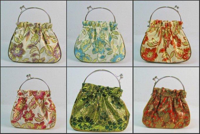 Free shipping! Wholesale 5 pcs Brocade Metal Handle Bags Snap Closure Tote Evening Purse handbag(China (Mainland))