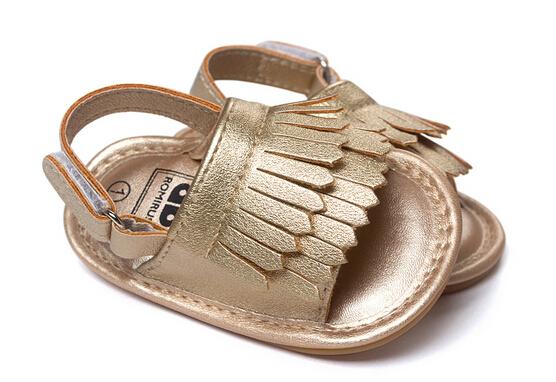 2016 оптово-лето стиль обувь девочки сандалии резиновая подошва кисточки новорожденный ...