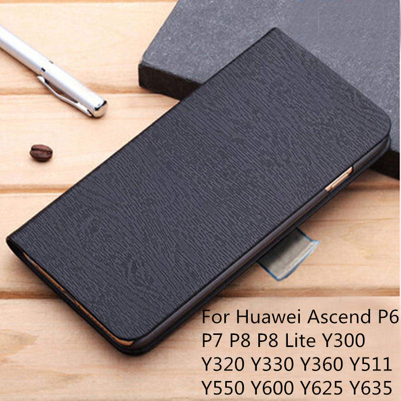 Original Flip Leather Wallet Phone Cover Case For Huawei Ascend P6 P7 P8 P8 Lite Y300 Y320 Y330 Y360 Y511 Y550 Y600 Y625 Y635(China (Mainland))