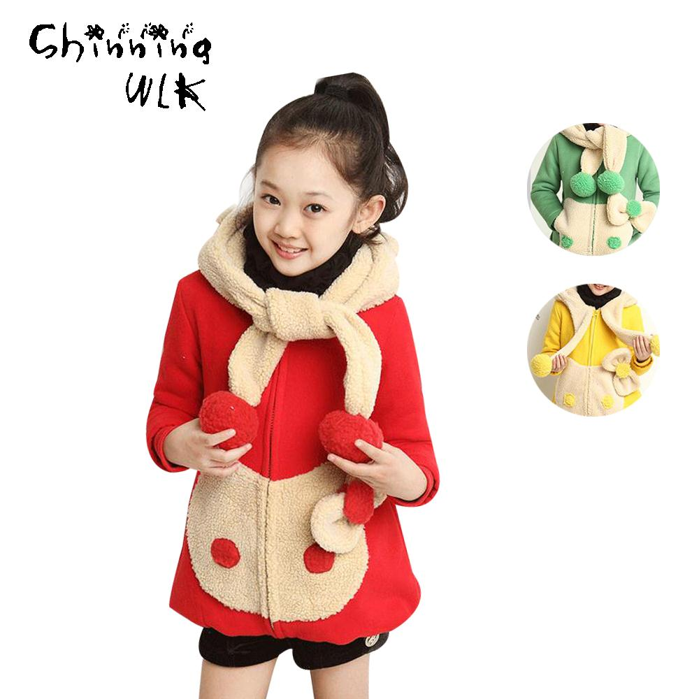 Cartoon Cat Pattern Girls Coat Casual Thick Warm Long Sleeve Children Outerwear 2016 Kids Apparel Girl Winter Coat(China (Mainland))
