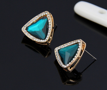 2014 popular jewelry accessories Earrings green crystal gems sexy fashion star gold stud earrings for women