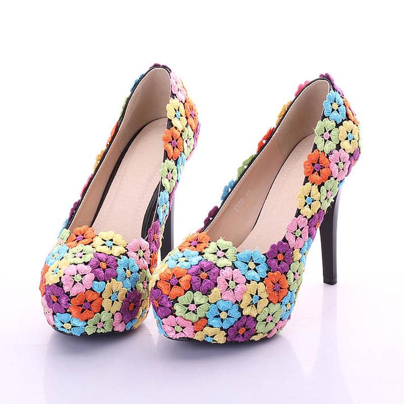 Colorful Lace Flower Shoes 12cm Fashion Wedding Shoes Performance Dancing Pumps Bridesmaid Shoes Women Bridal Prom Party Shoes<br><br>Aliexpress