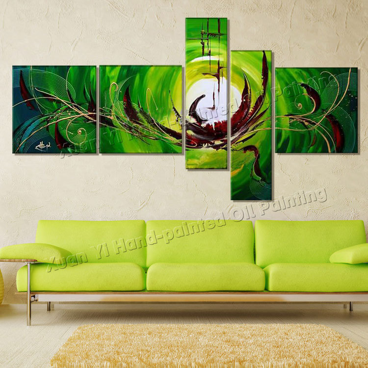 5 Panels Hand Painted Modern Abstract Canvas Wall Art Oil Painting Unique Artwork Home Decoration For Living Room Unframed XY051(China (Mainland))