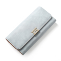 Trendy Fashion Tri fold Purse Women Korean Style Simple Solid Color Long Wallet Practical Multi functional