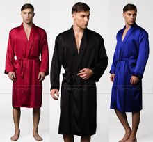 Mens Silk Satin Pajamas Pajama Pyjamas PJS Sleepwear  Robe  Robes  Nightgown  Lounge wear  U.S.S,M,L,XL,2XL,3XL Plus  Black(China (Mainland))