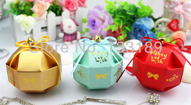 free shipping 100pcs yellow blue red ribbon bell round ball Wedding box favor paper box favour gift candy boxes Best candy box(China (Mainland))