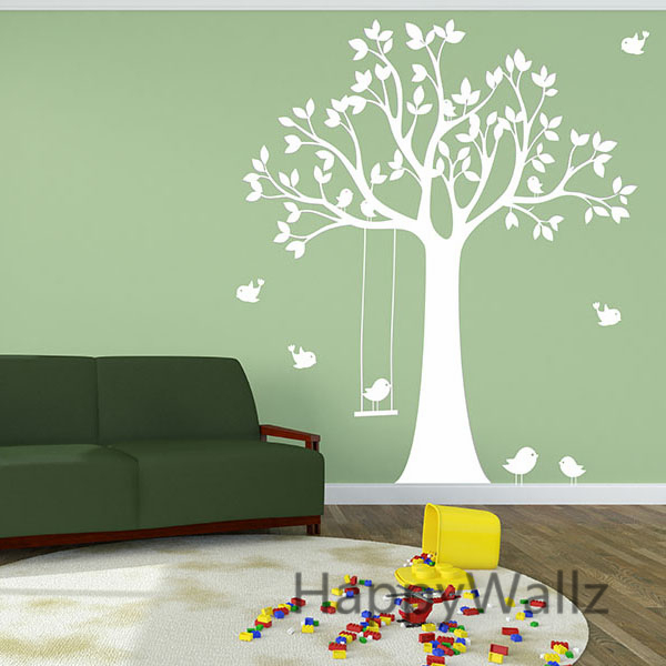 B B P Pini Re Sticker Mural Swing Oiseaux Arbre Stickers