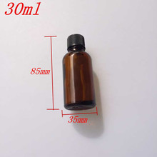 30ml Amber Glass Bottles with Leakproof Stopper Cap Liquid Jars Essential Oil Bottle 24pcs/lot(China (Mainland))