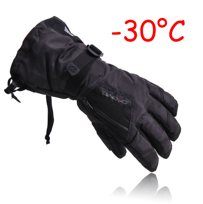 Man Winter Ski sport waterproof gloves double gloves black -30 degree warm riding gloves snowboard Motorcycle gloves(China (Mainland))