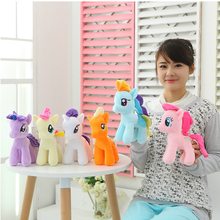 "1Pcs 6"" 15cm Cute Rainbow Horse Toys Cartoon Toys Hobbies Stuffed Dolls Movie TV Stuffed Plush Animals Little Horse BaoLi(China (Mainland))"