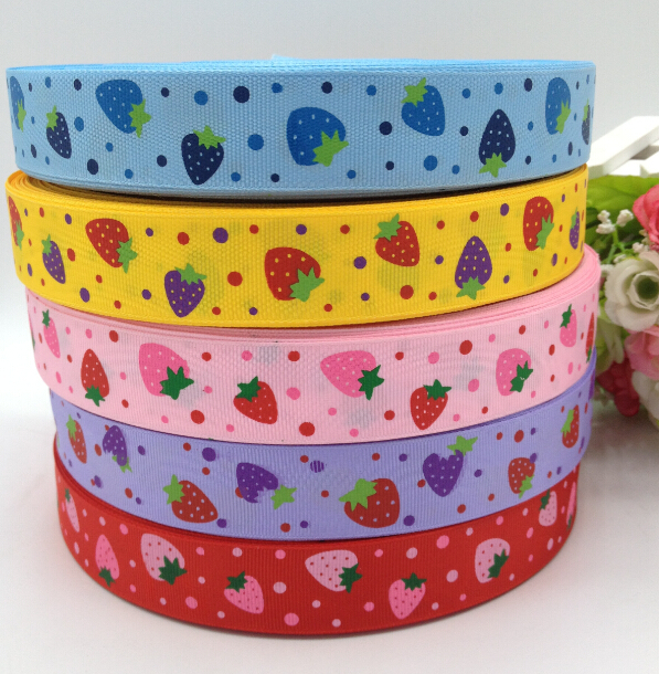 10 yards 25mm width printed strawberry grosgrain ribbon wedding party decoration DIY crafts for making hair bows A896(China (Mainland))