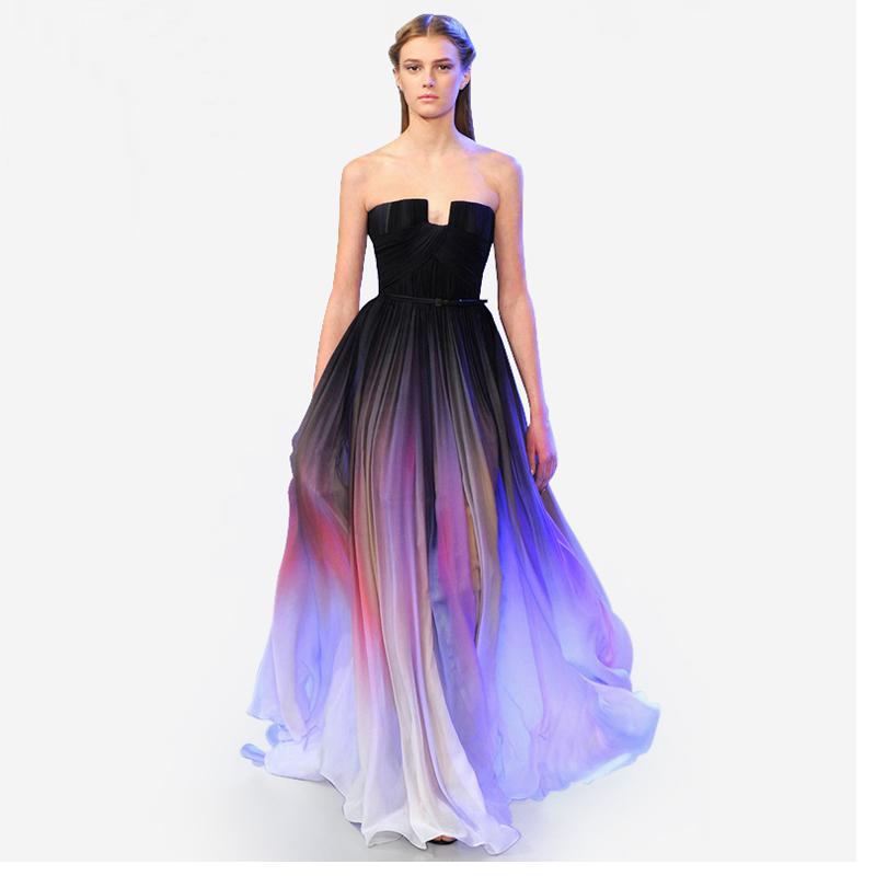 Gradient Chiffon Dress 2016 Fold Gradient Dress Chiffon Celebrity Red Carpet Dresses(China (Mainland))
