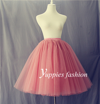 7 capas Maxi largo de tul falda de verano estilo de talle alto Midi Faldas plisadas para mujer adultos Faldas Saias Femininas más el tamaño
