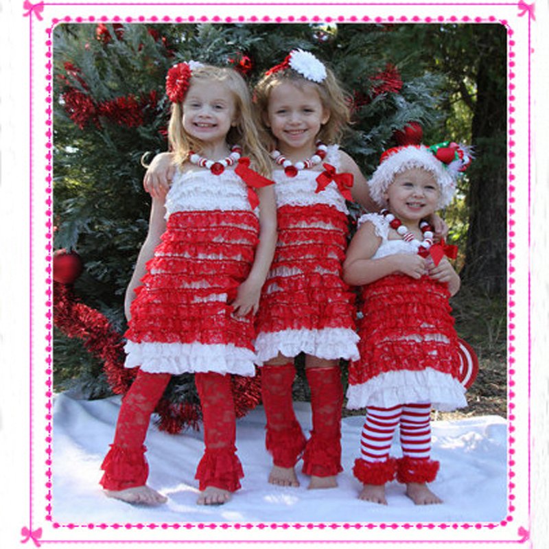 Baby Girl Christmas Dress For Girl Red White Lace Petti Dress For Kids Girl Party Free Shippinng(China (Mainland))