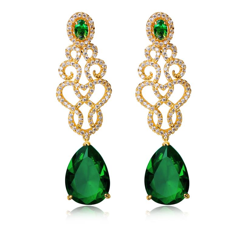 Love Accessories-18K Gold Plated Long Bridal Earrings Fashion Accessories AAA Zirconia Crystal Green Earrings Free Shipping(China (Mainland))