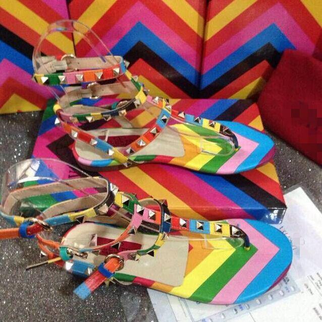 2015 Summer New Brand Rainbow Color Flat Flip Flops Beach Sandals Studed Buckle Straps Sandals<br><br>Aliexpress