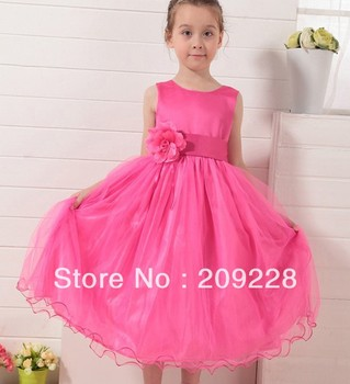 Girl's 2014 Party Dresses hot pink Yarn flower Sling Sleeveless Formal Attire Infant kids Clothing Free Shipping