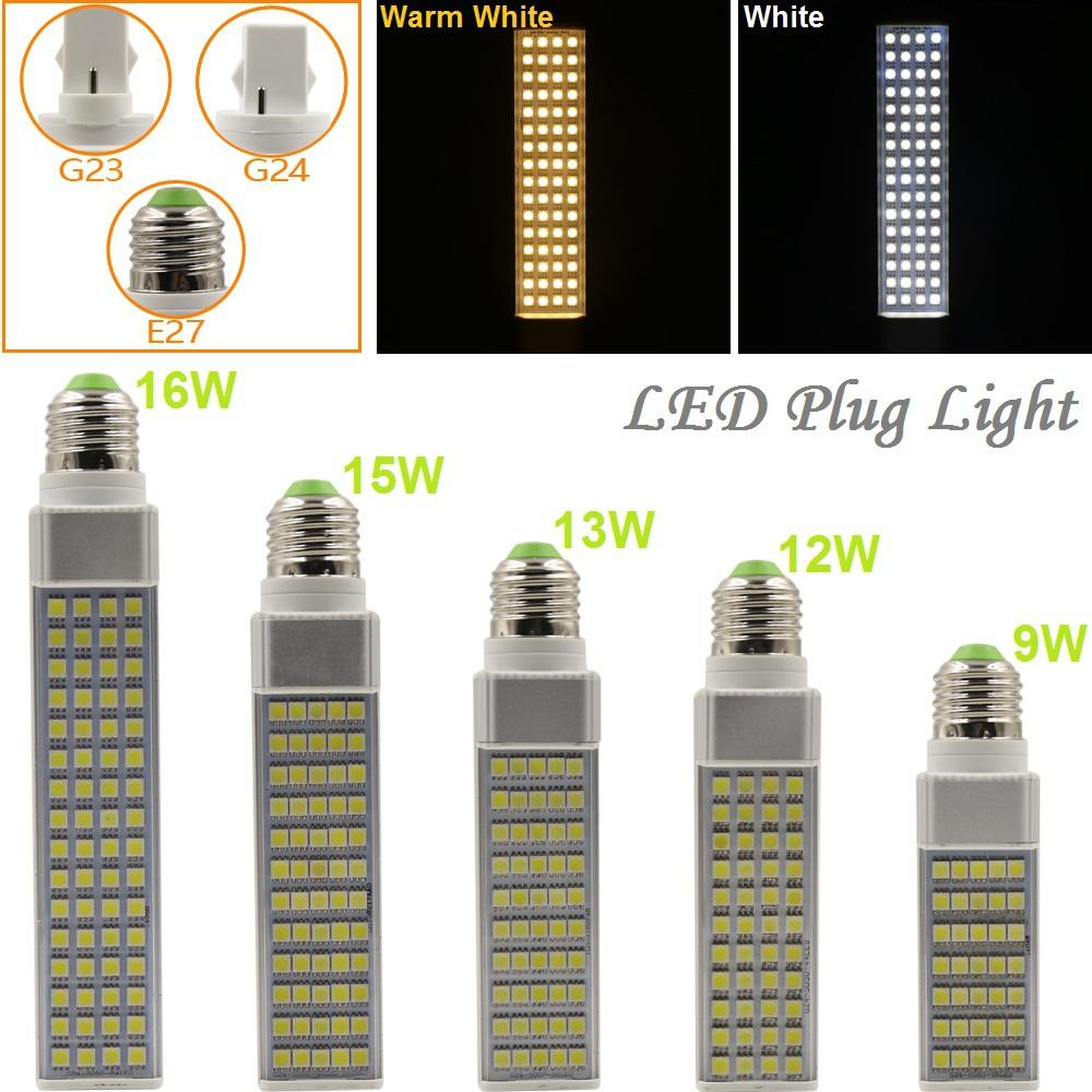 9W/12W/13W/15W/16W E27 G23 G24 LED Horizontal Plug Light Spotlight Bulb Lamp Light SMD5050 AC85-265V White/Warm White Hot Sale(China (Mainland))