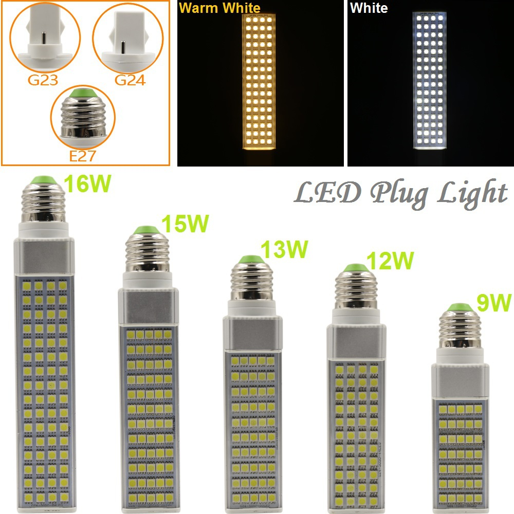 9W/12W/13W/15W/16W E27 G23 G24 LED Horizontal Plug Light Spotlight Bulb Lamp Light SMD5050 AC85-265V White/Warm White Hot Sale(China (Mainland))
