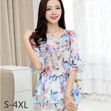 2016 Summer Floral Chiffon Women Blouses O-neck Half Sleeve Ruffles Kimono Tops Camisa Feminina Shirts Blusa 2582-9509