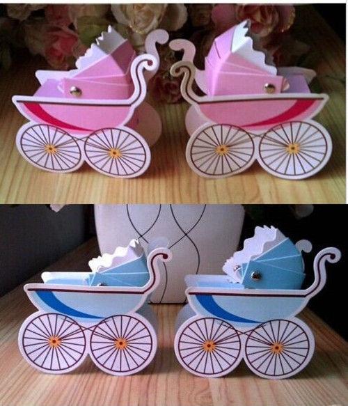 Candy Box Stroller Shape Box Party Wedding Baby Shower Candy Gift Box 10PCS/LOT H0838(China (Mainland))