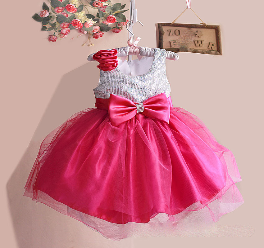 High Quality Girls Dress for Baby Children Sequined Top with Red Pink Big Bow Princess Party Dress with Sequined kid princess<br><br>Aliexpress