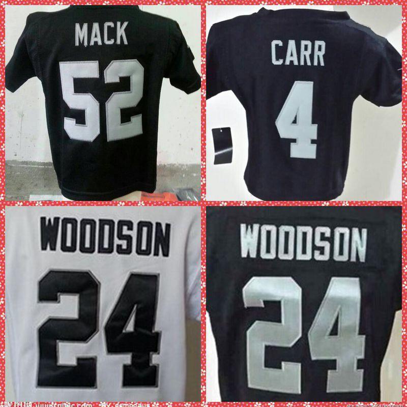 Oakland #4 Derek Carr #52 Khalil Mack #24 Woodson Black Preschool/Toddler/Little Baby/Newborn Kid American Football Jersey(China (Mainland))