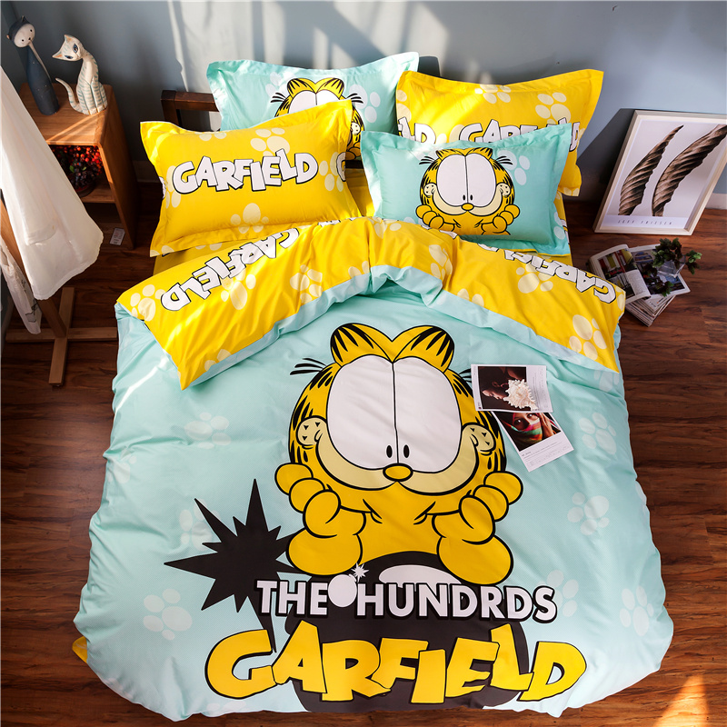 cute hello kitty cotton bedding set duvet cover bed sheet pillow cases 4pcs queen size bed linen set for girls(China (Mainland))