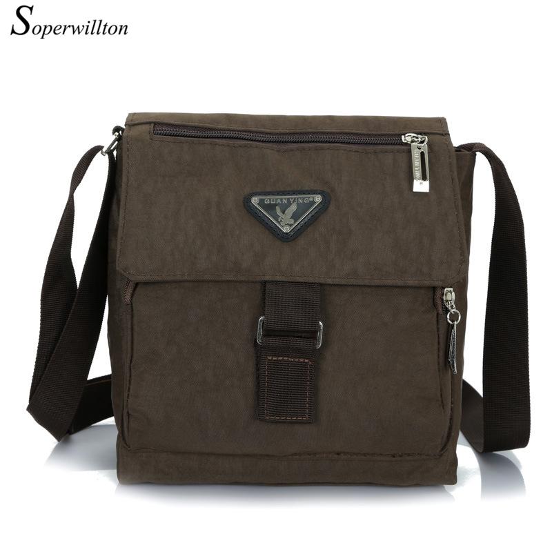 Soperwillton New 2016 Hot Sale Men's Bag Nylon Trunk Messenger Bags Solid Fashion Male Famous Brand Design Travel Bags J714(China (Mainland))