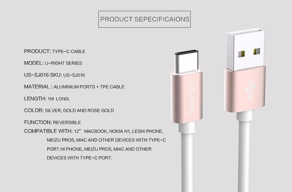 USAMS USB Type C Cable 2A Fast Charger Type-C Data Sync Cable for Nokia N1 Macbook OnePlus 2 xiaomi 4c NEXUS 5X 6P Lumia 950