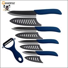 Owenz ceramic knife set black 6 inch chef 5 inch slicing 4 inch utility 3 inch paring knife kitchen knives + blue ceramic peeler