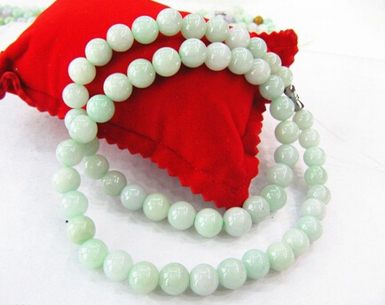 bjc 0001443 18 Inch Imperial A Grade 100% Natural Green Jade/Jadeite Bless Beads Necklace<br><br>Aliexpress