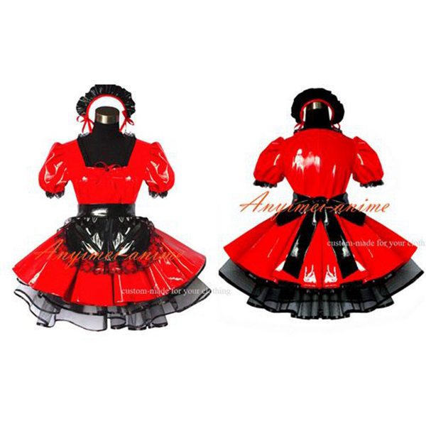 Sexy maid PVC dress red lockable Uniform cosplay costume Tailor-made[G491]Одежда и ак�е��уары<br><br><br>Aliexpress