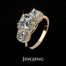 Latest Fashion 18K Gold Plated 2ct Princess Cut Three CZ  Diamond Ladies Jewelry rings (JR0035N)