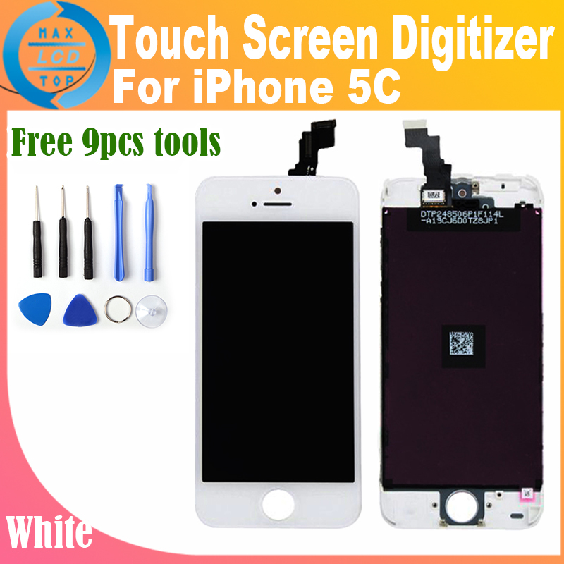 1x White For iphone 5c LCD Screen Display With Touch Screen Digitizer Assembly White Or Black Color Free Shipping