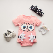 cartoon100%Cotton Short Sleeve Clothing Similar Jumpsuit Printed Baby Boy Girl Bodysuits 2016 baby girl boy clothes