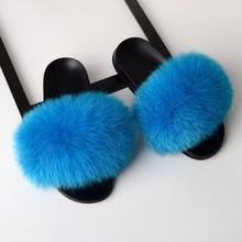 SARSALLYA รองเท้าแตะผู้หญิงขนสุนัขจิ้งจอกจริงสไลด์บ้าน Furry รองเท้าแตะแบนหญิงน่ารัก Fluffy House รองเท้าผ...(China)