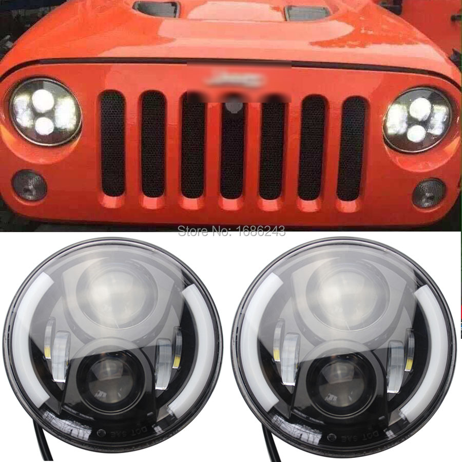 "2Pcs 7"" Angle Eyes Projector Daymaker HID Cree LED White Halo Headlight For Jeep Wrangler JK TJ Land Rover New(China (Mainland))"