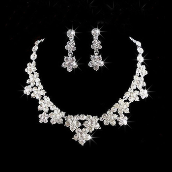 Cheap!!! fashion crystal flower bridal jewelry sets silver plated wedding necklace set wedding dress accessory