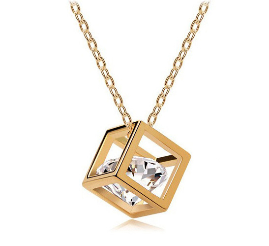 bijoux femme CZ Crystals Long Necklace Chain Gold Plated Cube Pendant Necklace Fashion Bride Wedding Jewelry(China (Mainland))