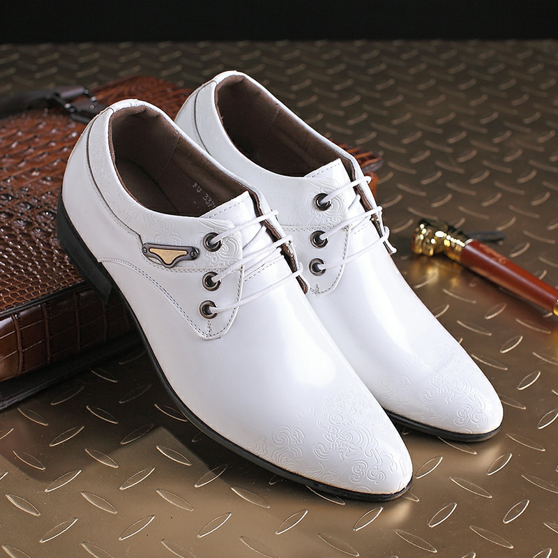 get cheap mens white patent leather shoes