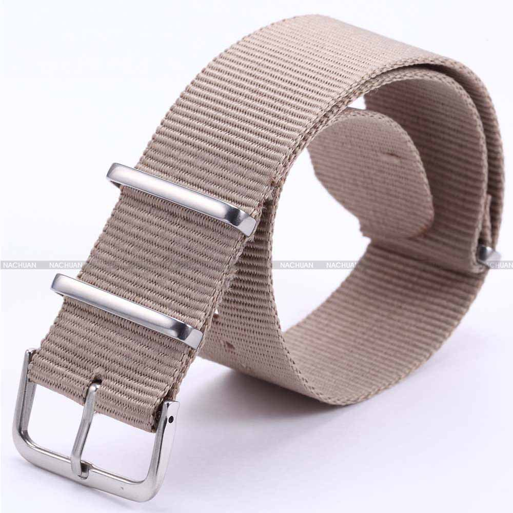 New 20mm Pure Khaki Canvas Nylon Fabric Silver Stainless Steel Buckle Quartz Sport Wrist Military Strap Watchbands / WB2030(China (Mainland))