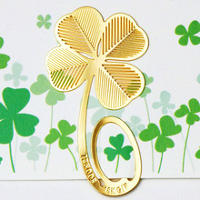 5 pcs/lot mini cartoon creative clover bookmark novelty stationery metal bookmarks for book gift free shipping(China (Mainland))