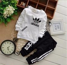 retail 2-5yrs 2015 New cotton spring children baby boys girls autumn spring 2pcs clothing set suit baby shirt+pants sets(China (Mainland))
